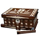 Puzzle Box Secret Wood Mystery Treasure Magic Boxes with Lock Key Hidden Compartment Brain Teaser Puzzles Gift, Transylvanyart, Brown