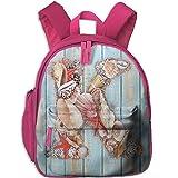 Haixia Child Boy's&Girl's Backpack with Pocket Letter K Letter K Invertebrates Seashells Starfishes Summer Inspired Print Decorative Pale Blue Ivory Dark Coral