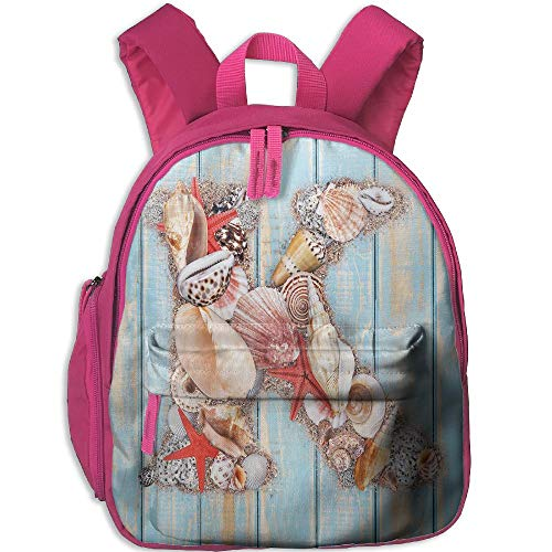Haixia Child Boy's&Girl's Backpack with Pocket Letter K Letter K Invertebrates Seashells Starfishes Summer Inspired Print Decorative Pale Blue Ivory Dark Coral by Haixia