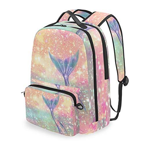Glitter Pink Mermaid 15 Inch Travel Laptop Backpack College School Computer Bags Cross Bag