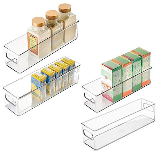 mDesign Slim Plastic Stackable Food Storage Container Bin with Handles for Kitchen, Pantry, Cabinet, Fridge, Freezer - Long Narrow Organizer Holds Snacks, Produce, Vegetables, Pasta - 4 Pack - Clear