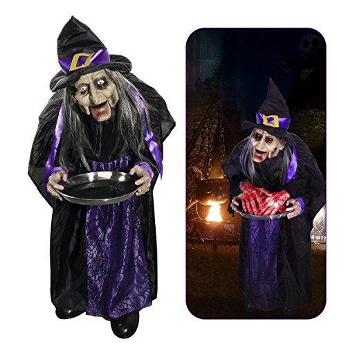 "Witches for Halloween, PBPBOX 43"" Halloween Animated Witch Props Talking Witch Standing Hanging Witch with Light-up Eyes Haunted House Yard Scary Outdoor Decoration ()"