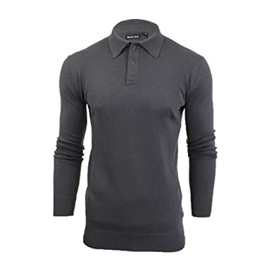 Mens Brave Soul Long Sleeve Polo Placket Knitted Polo Shirt Collared Jumper  Top  Amazon.co.uk  Clothing 736fbbf44b5f