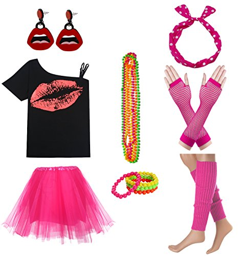 Women Sexy Lips Off Shoulder Shirt with Color Tutu Skirt Complete Costume Outfit (S, Hot Pink)