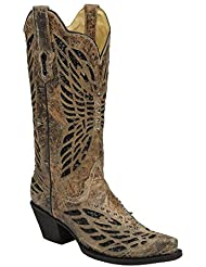 Corral Womens Bronze/Black Sequin and Crystals Butterfly Western Cowboy Boots