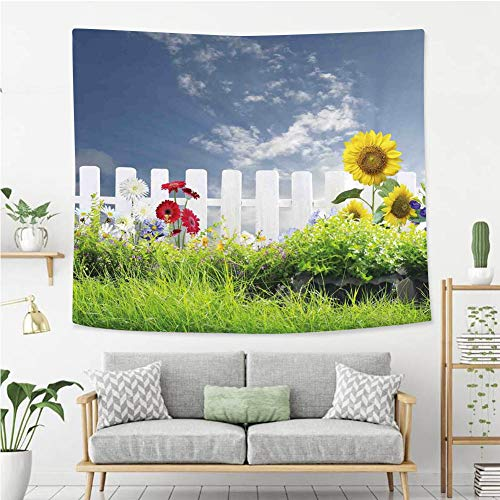 - BEIVIVI Creative Custom Tapestry Farm House Decor Grass Foliage Field with Sunflowers Daisy Hedge Fence Yard Jardin White Green Blue Polyester Fabric Tapestries for Bedroom Living Room Dorm