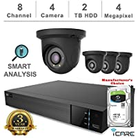 iCare-4K Smart Analysis NVR Security Kits: 8CH 4K PoE NVR + (4) 4MP Outdoor Network Grey Eyeball (3 Years Warranty; Local US Support, No Hard Drive Included)