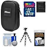 Nikon Coolpix Nylon Digital Camera Carrying Case with 32GB Card + Flex Tripod + Kit for S33, S3700, S7000, S9900, AW130, A10, A300, A900, L32, W100, W300