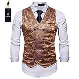 Cyparissus Mens Business Suit Vest Waistcoat Men's Dress Vest or Tuxedo Vest (XL, Gold)