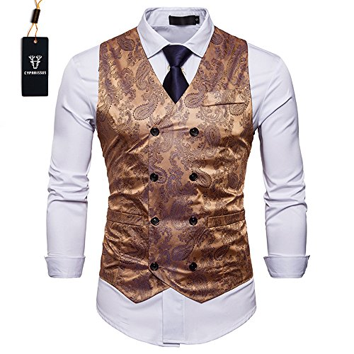 Cyparissus Mens Business Suit Vest Waistcoat Men's Dress Vest or Tuxedo Vest (XL, Gold) by Cyparissus