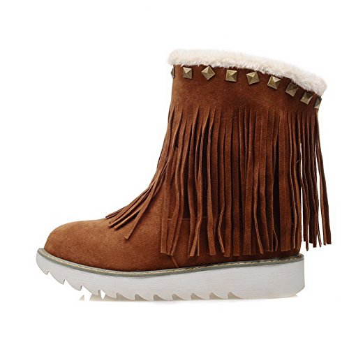 Allhqfashion Women's Solid Low-Heels Round Closed Toe Imitated Suede Pull-on Boots Brown oYsnJgSf