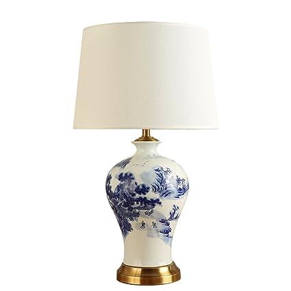 Lámpara de mesa Guo Shop Cerámica Pintada Tela Paño Pantalla ...