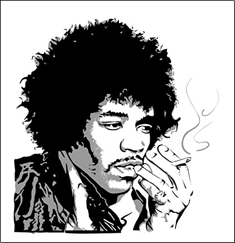 U$TORE Vinyl Sticker Jimi Hendrix Logo Decorative Decal for Wall Windows Truck Car Bumpers Laptop Rock Water Resistant - 4