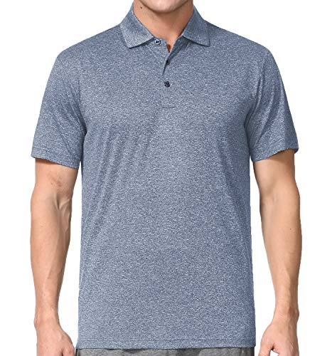 Men's Athletic Golf Polo Shirts, Dry Fit Short Sleeve Workout Shirt (M, Pewter)
