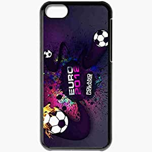 Personalized iPhone 5C Cell phone Case/Cover Skin Sport Tournament Football Balls Fire Spray Black