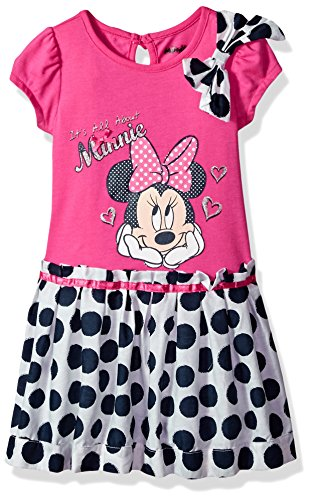 Pink Screen Printed - Disney Little Girls' Minnie Mouse Screen-Printed Dress, Pink, 4T