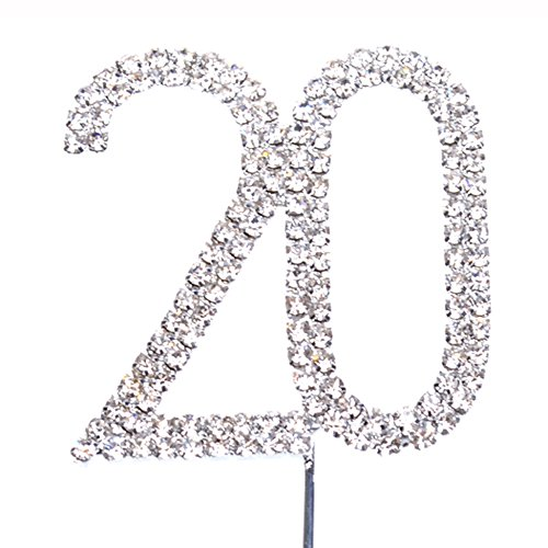 Cosmos  Rhinestone Crystal Silver Number 20 Birthday 20th Anniversary Cake Topper - 20th Birthday Decorations