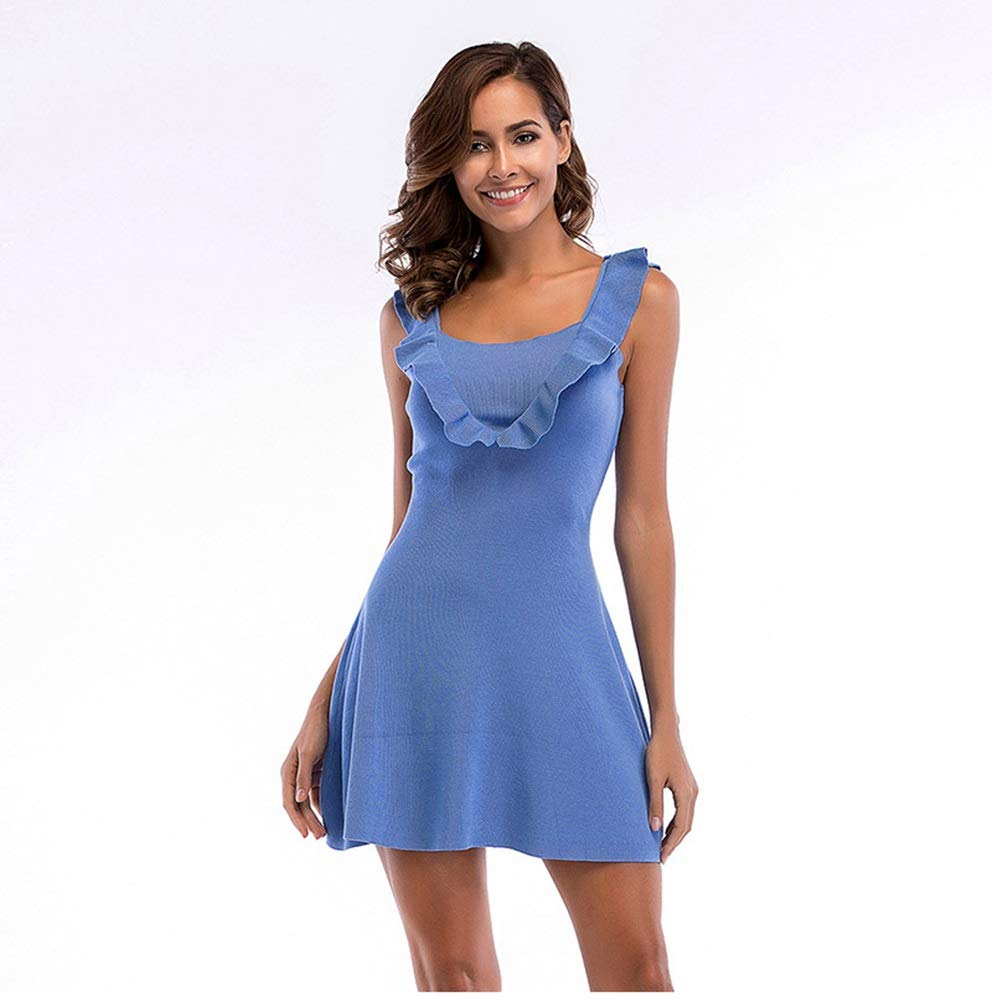 bluee CARRY Dress, European and American Women's Summer Dress Large Size Comfortable Waist Slim Slimming Ruffled Knit Vest Dress (color   bluee, Size   M)
