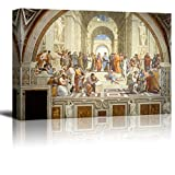 wall26 The School of Athens by Raphael Giclee Canvas Prints Wrapped Gallery Wall Art | Stretched and Framed Ready to Hang - 16'' x 24''