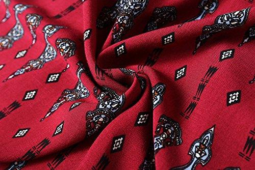 Stampa lungo rosso lato Maxi lungo frontale Butterme Beach Dress manica Abito Vino vintage floreale lungo Boho Abito manica laterale Boho Abito Cardigan qfzfwU