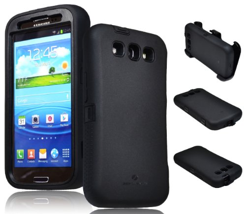 Zerolemon Black Zero Shock Series for Samsung Galaxy S3 S III I9300 - Covers All Battery Sizes - Worlds Only Universal Form Fitting Case. Rugged Hybrid Case Includes Built in Screen Protector, Belt Clip and Kickstand