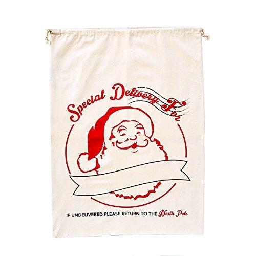 Kates Craft Store Extra Large Cotton Santa Sack with Drawstring Tie Closure, 39 x 27 Canvas Bag (Santa Claus)