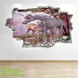 UNICORN WALL STICKER 3D LOOK - BOYS GIRLS BEDROOM ENCHANTED WALL DECAL Z107 Size: Large