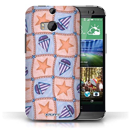 Etui / Coque pour HTC One/1 M8 / Pêche/Violet conception / Collection de Bateaux étoiles