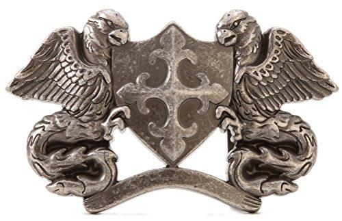 Belt Buckle 3d (Gurscour Western Vintage Silver Cross Shield Bird of Prey 3D Eagle Belt Buckle)