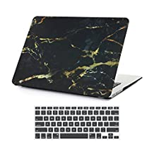 """MacBook Pro Retina 13-inch Case, Soundmae 2in1 Marble Pattern Slim Scratch Resistant Hard Shell Case Skin Film Cover with Keyboard cover skin For MacBook Pro 13.3"""" [A1425 / A1502] - Black Yellow Marble"""