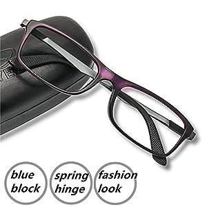 Computer Reading Glasses 2.0 Violet - 2017 New EyeYee Blue Light Blocking Reader Spring Hinge Anti Glare Anti Eye Strain Screen Eyeglasses Reduce Headaches Eyewear Gamers Glasses for Computer Use