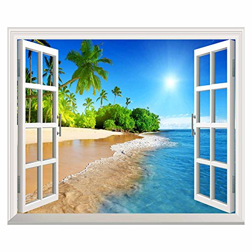 Palm Tree Blue (wall26 White Beach with Blue Sea and Palm Tree Open Window Mural Wall Sticker - 30