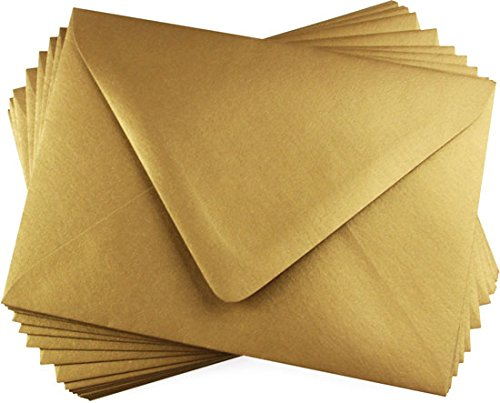 A7 Antique Gold Metallic Euro Flap Envelopes, Stardream 81lb, 25 pack (Stardream Shimmer Envelope)