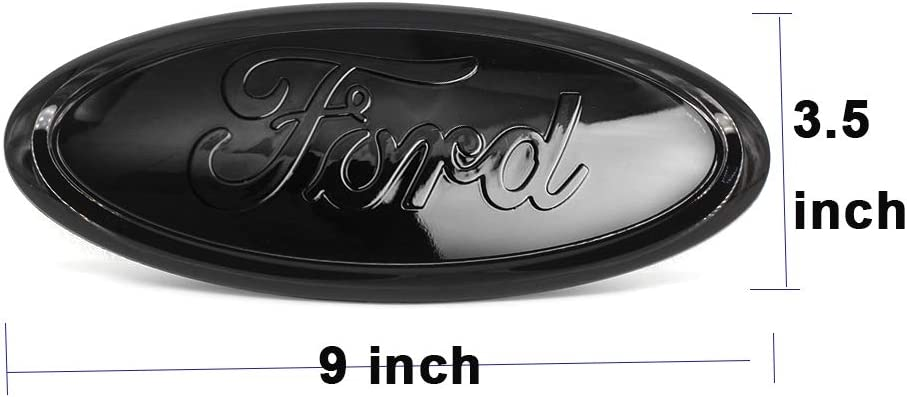 Ruanye For Ford Grille Emble,Replacement for Front Grille Emblem Badge Ford F150 F250 F350 Black Badge Emblem for Ford 2005-2014,06-11 Ranger,11-14 Edge,11-16 Explorer,Oval 9X3.5