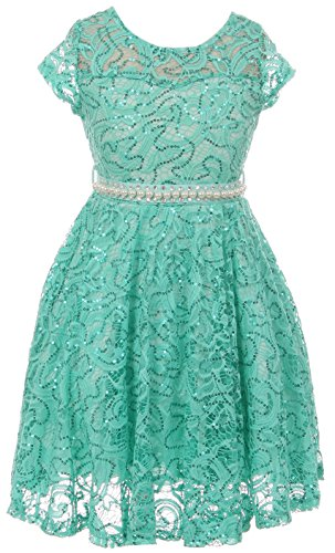 Big Girl Cap Sleeve Floral Lace Glitter Pearl Holiday Party Flower Girl Dress Jade 12 JKS 2102 -