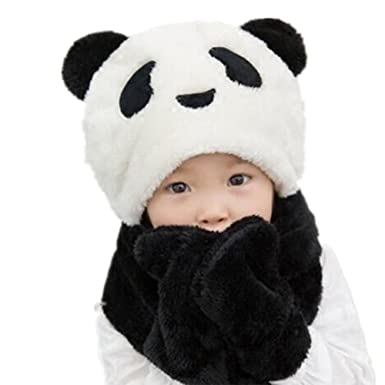 Amazon.com  Kids Plush Panda Hat 3 in 1 Beanie With Scarf 5a148e444ad