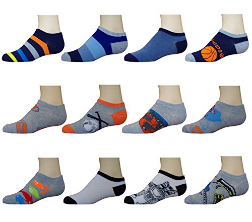 Ikey Mikey Boys No Show Socks (12 Pack) (Colorful Socks Boys)