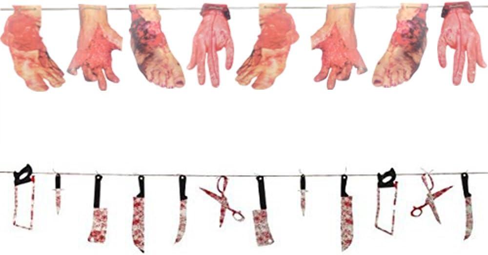2 Pcs Haunted Asylum Halloween Bloody Weapon and Rotting Limb Garland Decoration, Plastic, 7 Feet x2