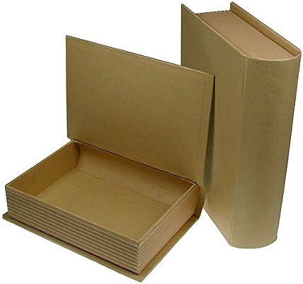 Caja de cartón libro para manualidades y para pintarlas, 2 ...
