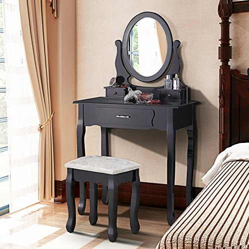 Mecor Vanity Table Set with Oval Mirror/ 3 Drawers,Wood Makeup Dressing Table w/Cushioned Stool (Black)
