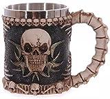 LIVDAT Gothic Viking Tribal Stainless Steel Skeletal Skull Bone Armor Wine Coffee Tea Mug Beer Mugs Cool Creepy Collectibles Gift for Men