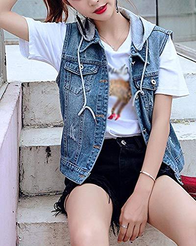 con Short Slim Gilet Chic Plus Primavera Jeans Blu Vintage senza Elegante Carino Fashion Cappotti jeans donna Denim Casual cappuccio di Autunno maniche Size Fit Giacche q8RX0R