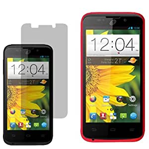 BW Soft Sleeve Skin Case for Straight Talk, Net 10, Tracfone ZTE Majesty Z796C + Fitted Screen Protector-Red