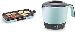 DASH DEG200GBAQ01 Everyday Nonstick Electric Griddle, 20in, Aqua & DMC100AQ Express Electric Cooker Hot Pot with Temperature Control, 1.2 L, Aqua