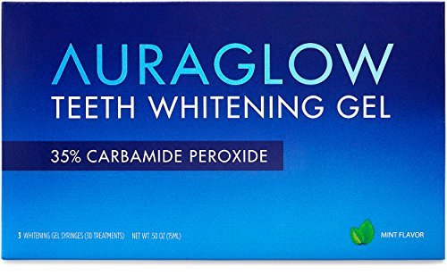 - AuraGlow Teeth Whitening Gel Syringe Refill Pack, 35% Carbamide Peroxide, (3) 5ml Syringes