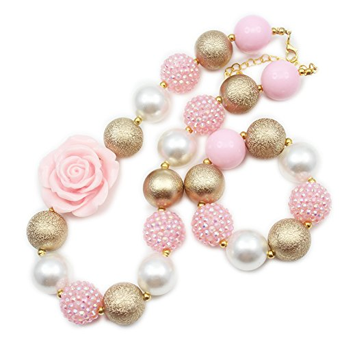 - Artvine pink flower gold wrinkle rhinestone beads chunky statement necklace bracelet set