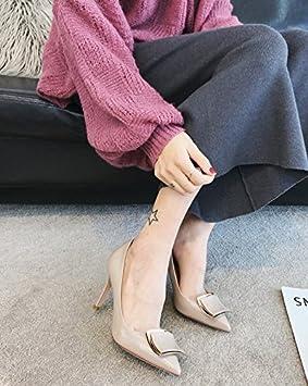 Ajunr La multa seguido de ocio Retro solo zapatos zapatos de mujer salvaje m Blanco 9cm los zapatos de tacón alto sugerencia Ocasional elegante,Transpirable,Sandalias Mujer