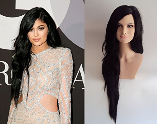 [Deluxe Kylie Jenner Style Long Black Heat Resistant Celebrity Fashion Wig] (Hollywood Celebrities Halloween Costumes)