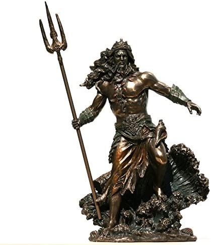 Amazon Com Poseidon Greek God Of The Sea Neptune Figurine Statue Sculpture Bronze Finish 10 4 Inches Kitchen Dining