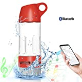 Water Bottle Bluetooth Speaker Compass 3 In 1 Portable Drinking Bottle Rechargeable Wireless Speaker Water Cup USB Cable for Yoga Cycling Hiking Camping Trekking Birthday Present Gift-Red